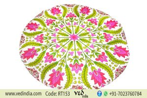 Indian Round Roundie Beach Towel Green and Pink Flower-0