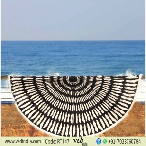 Tulum Printed Round Beach Towel Black and White-0