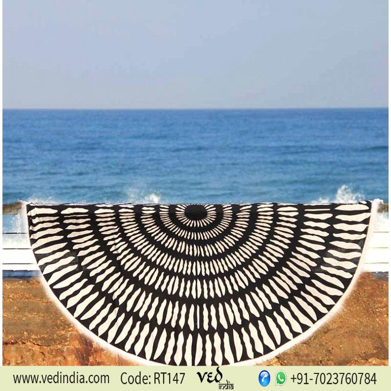 Tulum Printed Round Beach Towel Black and White-0