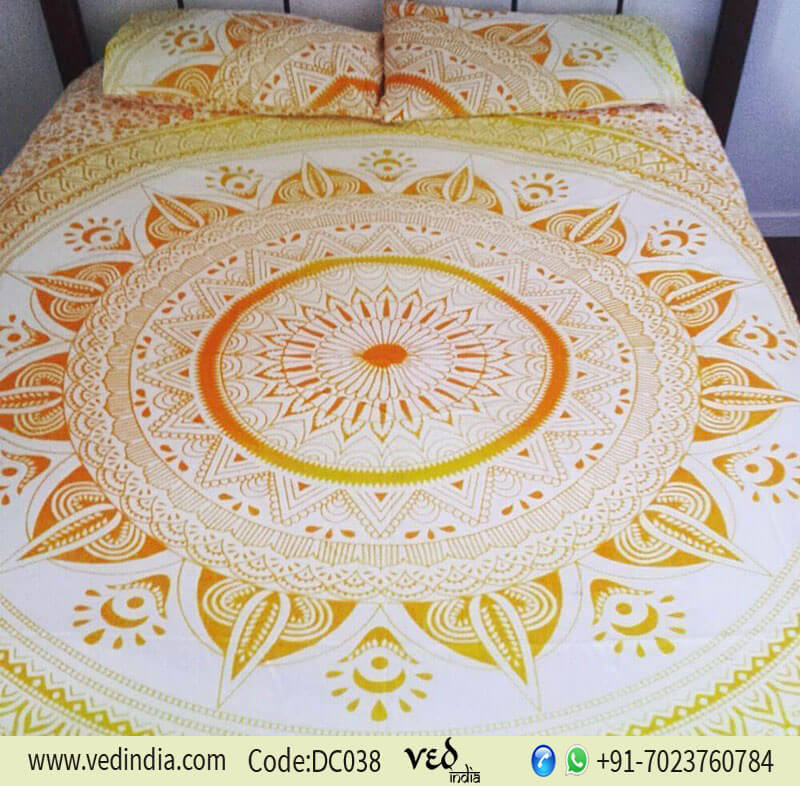 Yellow Indian Mandala Duvet Cover King Queen in Omber Print-0