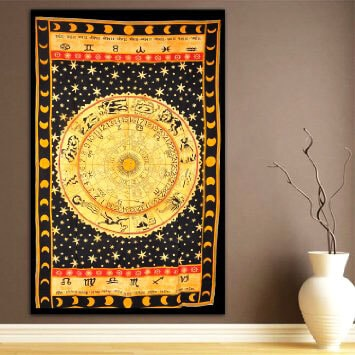 Indian Zodiac Horoscope Tapestry Twin Size Wall Hanging -3925